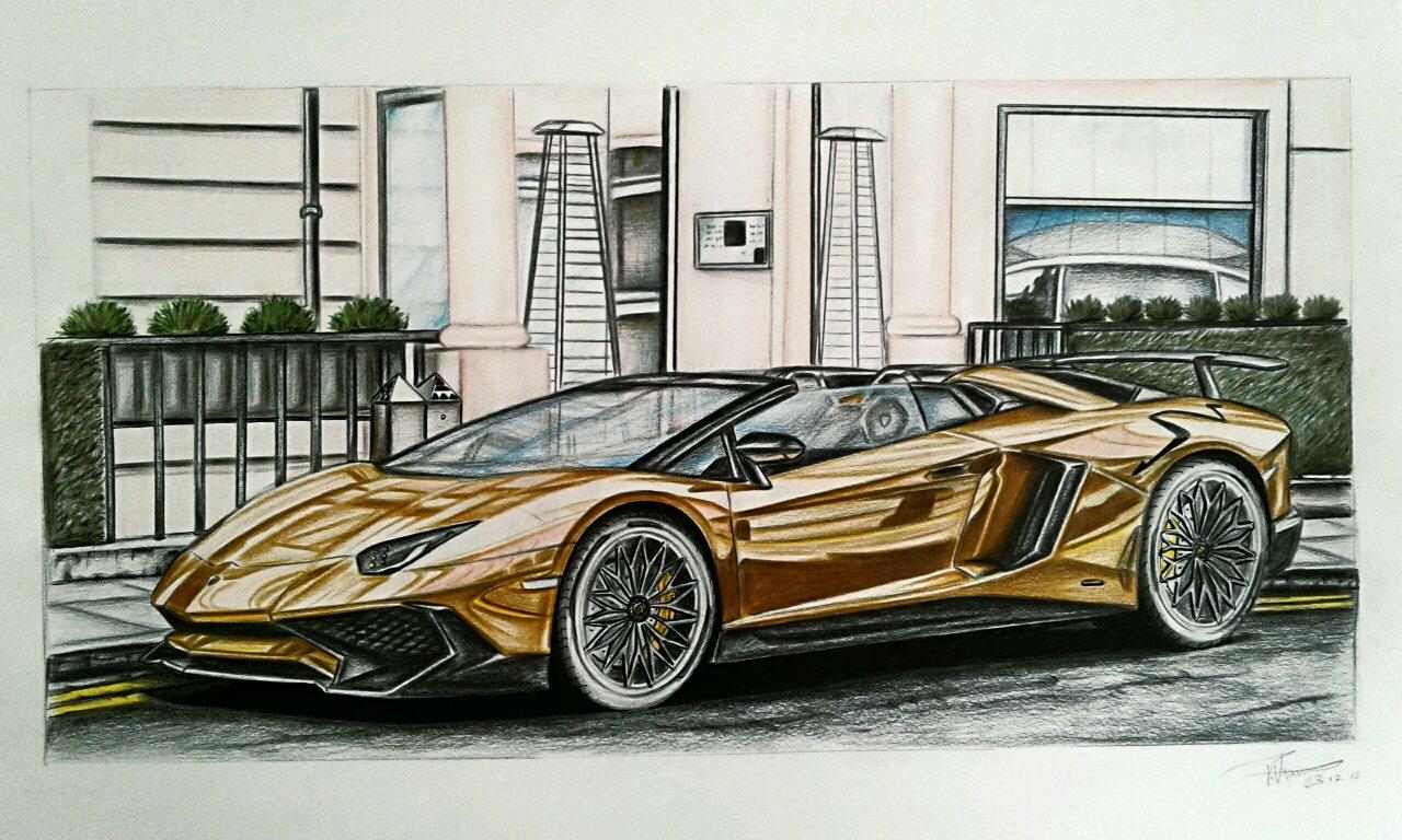 Gold Lamborghini Aventador Sv Roadster Drawing Took Alot Of Time