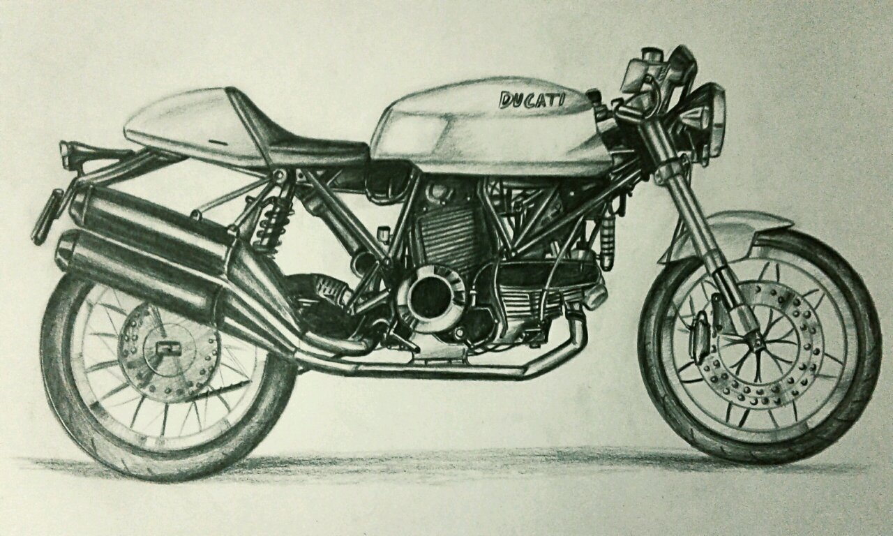 Ducati Sport Classic 1000 Pencil Drawing