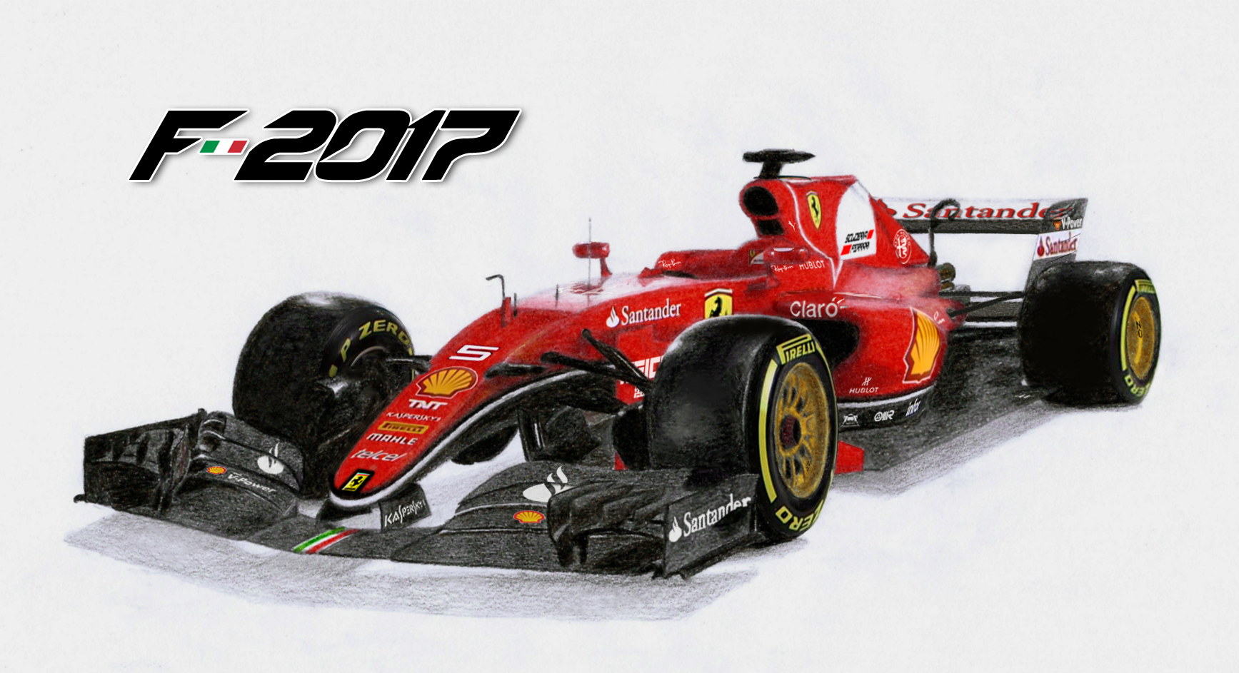 Ferrari F1 2017 Render Pencil Base Digital Details