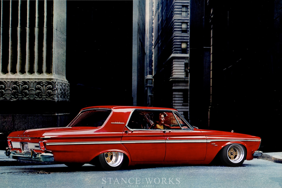 Slammed 63 Plymouth Fury With Some Shadow Spoke Wheels