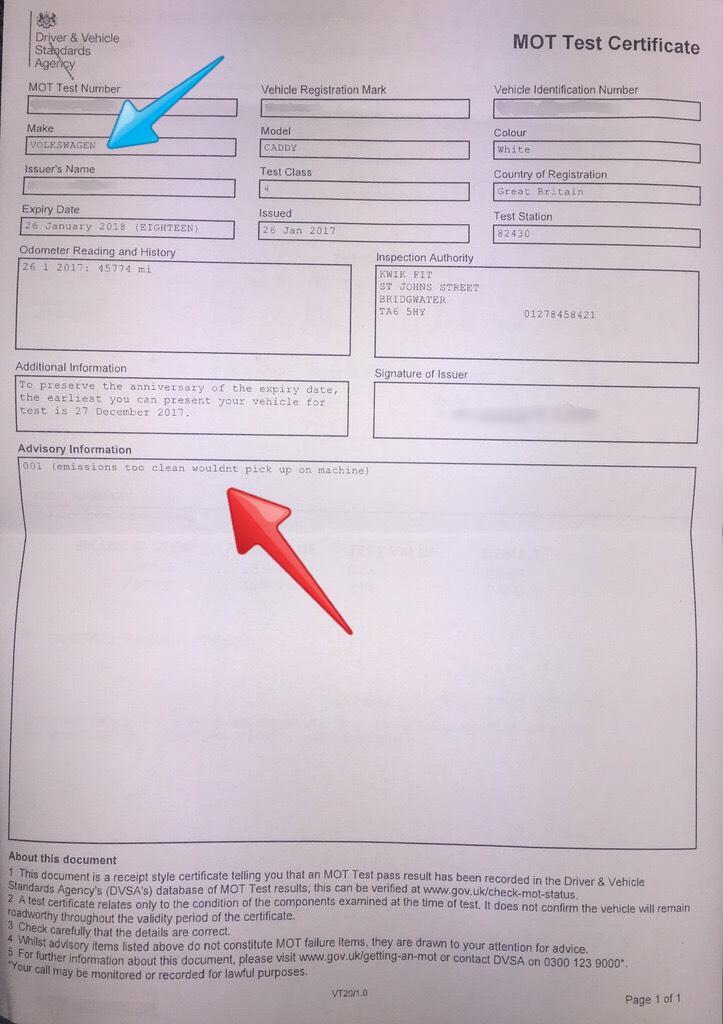 post dating mot certificates