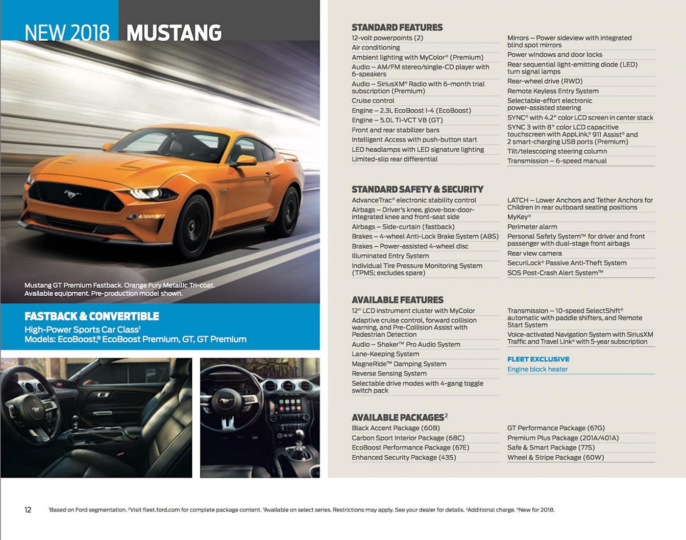 Ford Mustang Brochure Reveals New Features And Options