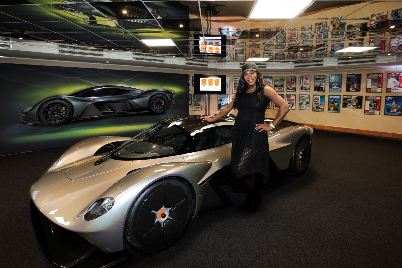 Serena Williams Stands Next To The Production Aston Martin Valkyrie