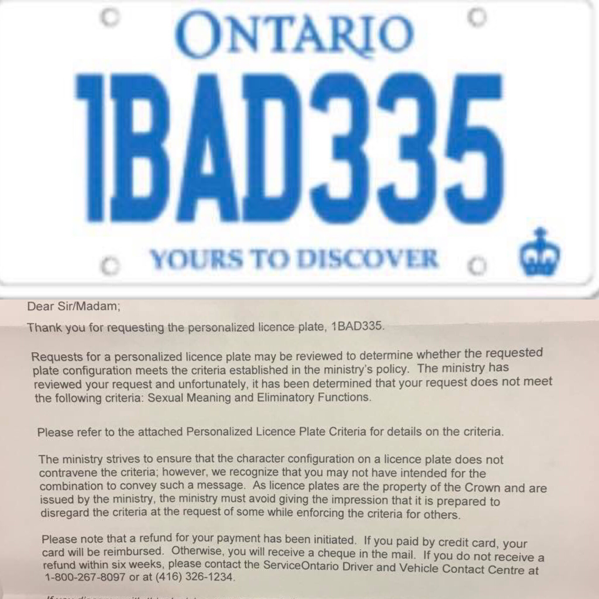 """License plate 1BAD335 gets rejected for """"sexual meaning"""" lool"""