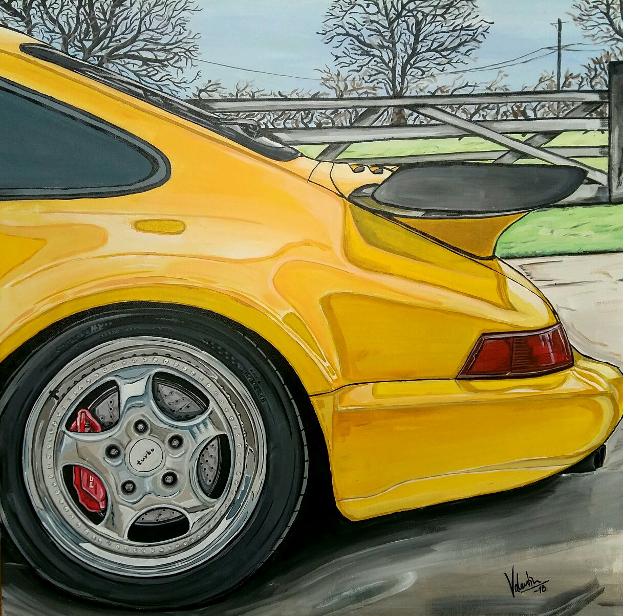 I have just finished this acrylic painting of the Porsche 911 964