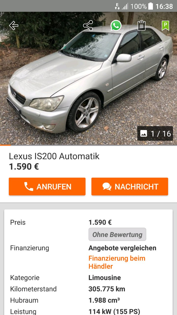 the cheapest run drive lexus in germany with hail damage but a valid technical inspection stands