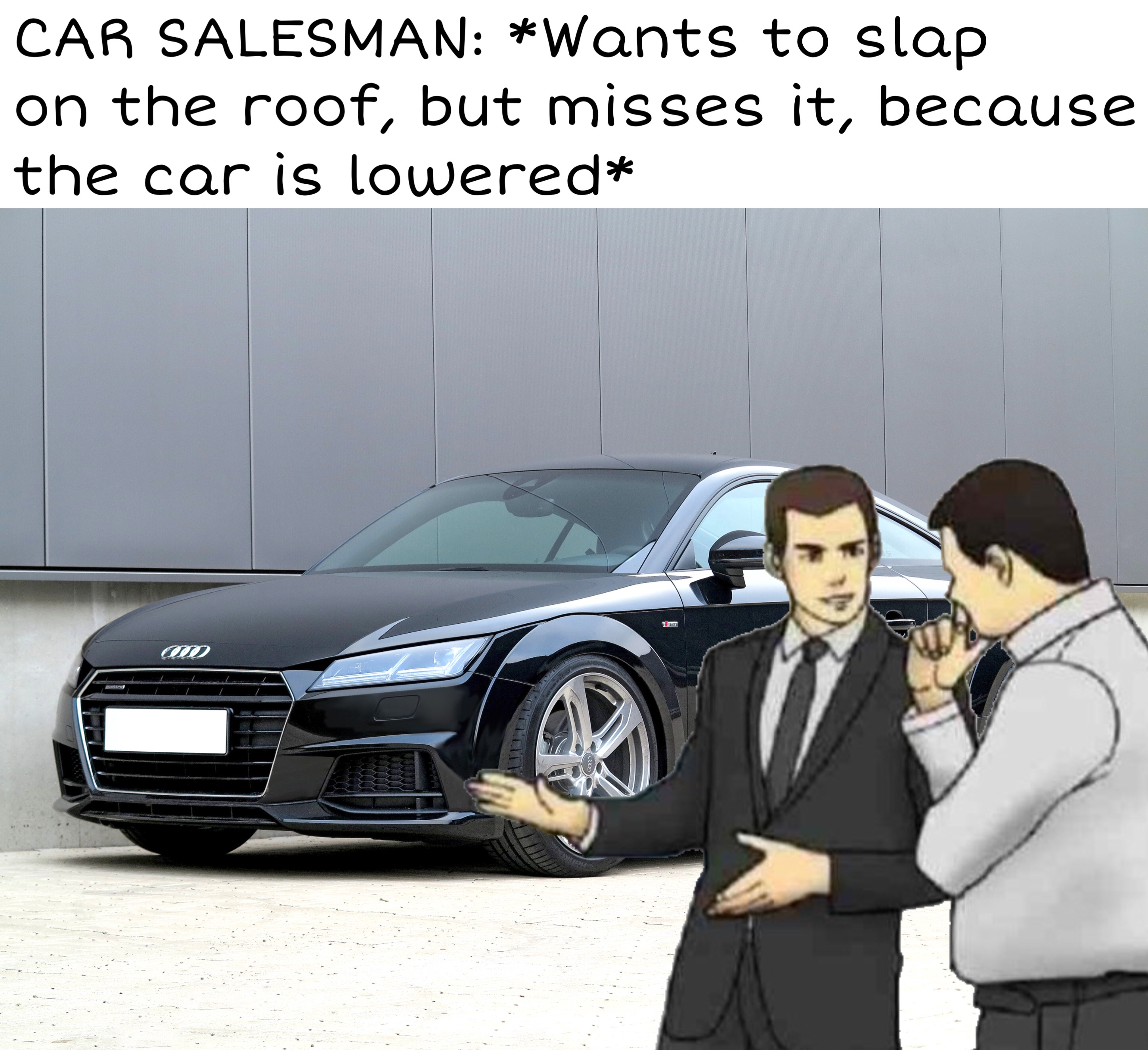 The tt is too lowered for the car salesman memes