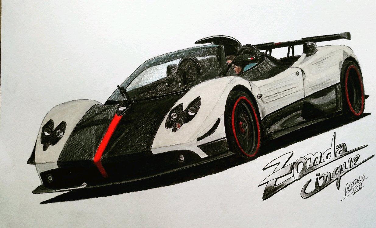 Pagani Zonda Drawing Supercars Gallery