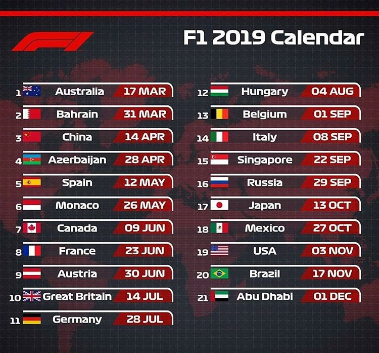 F1 Calendar 2019 Here's the F1 2019 Calendar if you haven't gotten it yet!