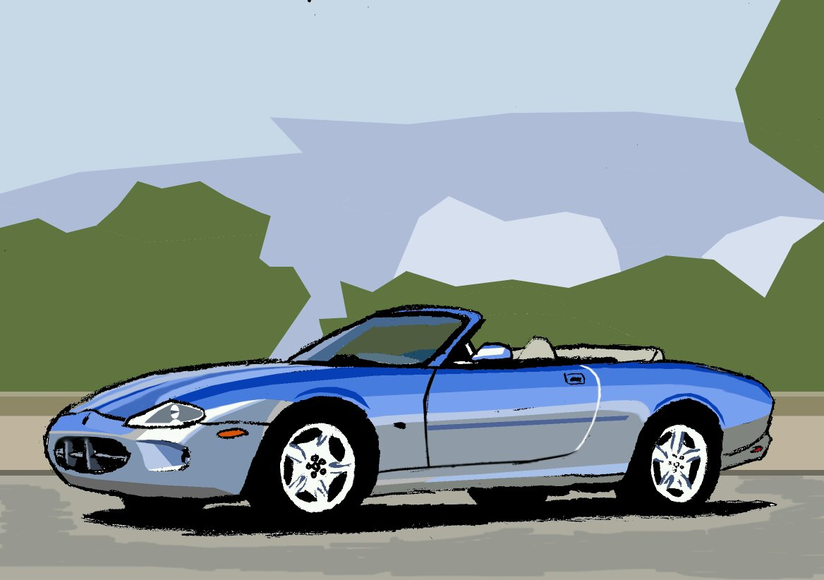 My digital drawing of the 1997 Jaguar XK8 Convertible