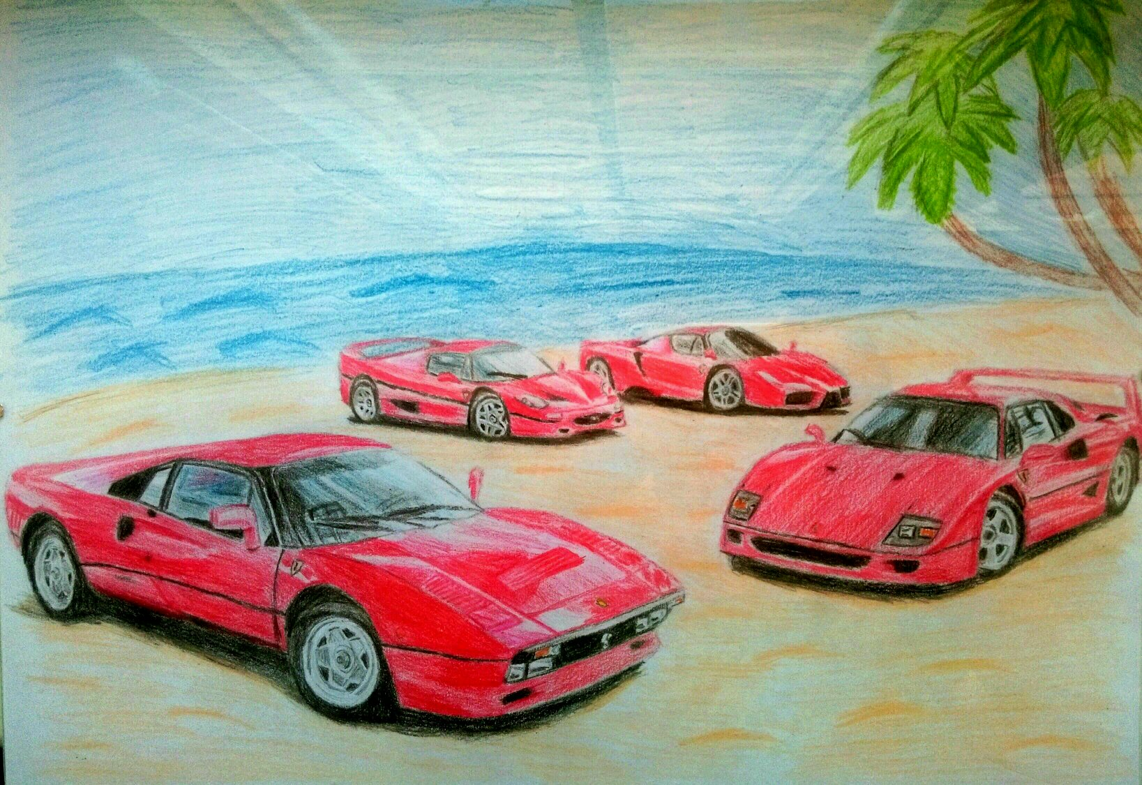 Pencil Drawing Of The Four Of Main Models From Ferrari The 288 Gto The F40 F50 And The Enzo